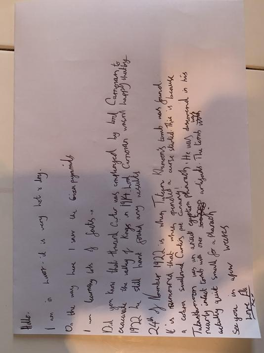 Ella's postcard describing the discovery of Tutankhamun's tomb.