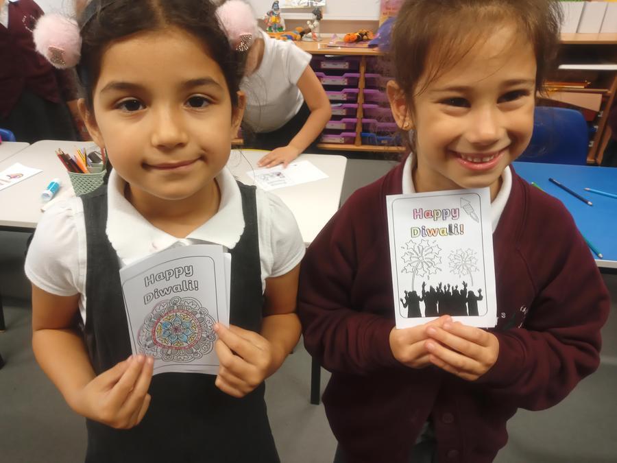 We made Diwali cards