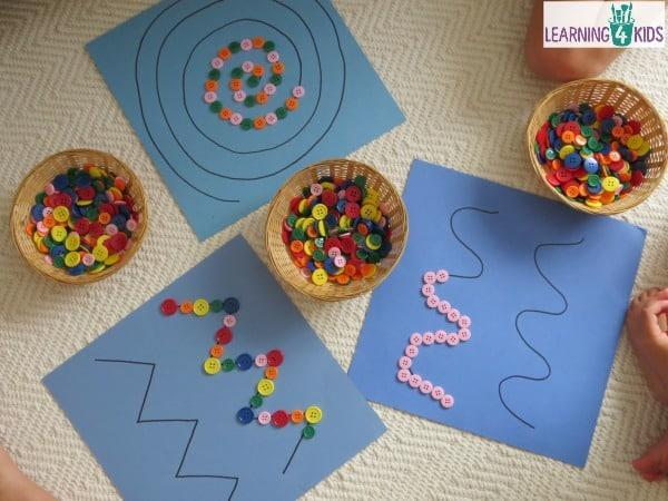 Put small things like buttons or beads on a pattern.