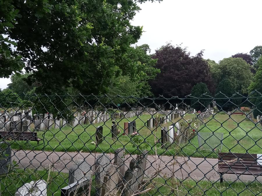 We saw a cemetery.