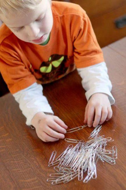 Make paper clip chains.