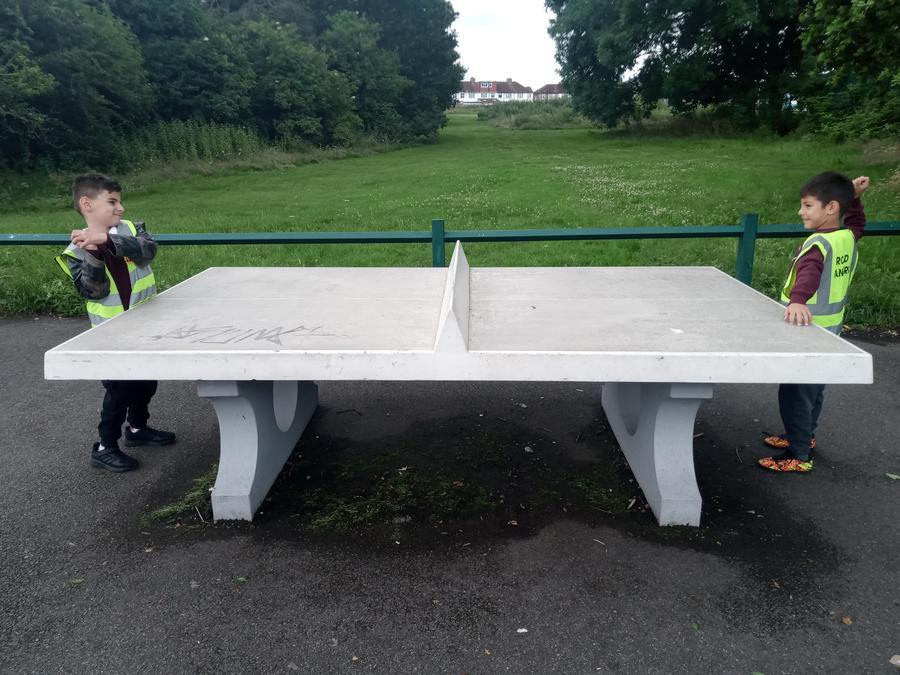 Playing ping pong!