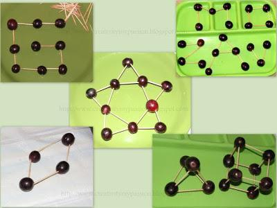 Create shapes with grapes and cocktail sticks.