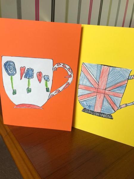 Frankie and Dennis design VE day cups