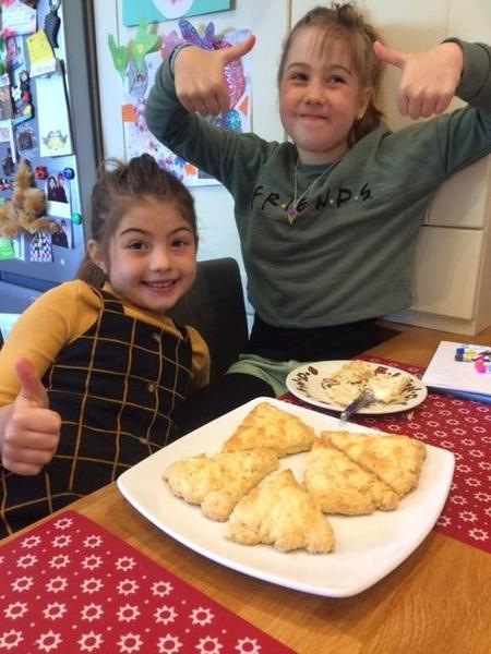Rosie and her sister Lily make cheese scones.