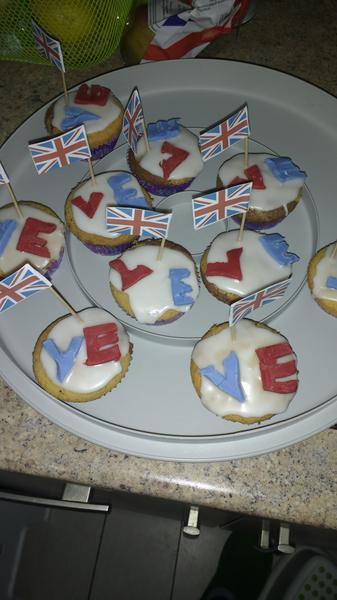 Erika and Freya's VE day cupcakes