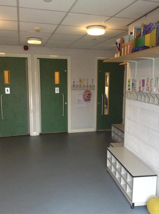 Inside Year 5 cloakroom -toilets