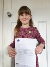 Sienna and her letter from Blue Peter