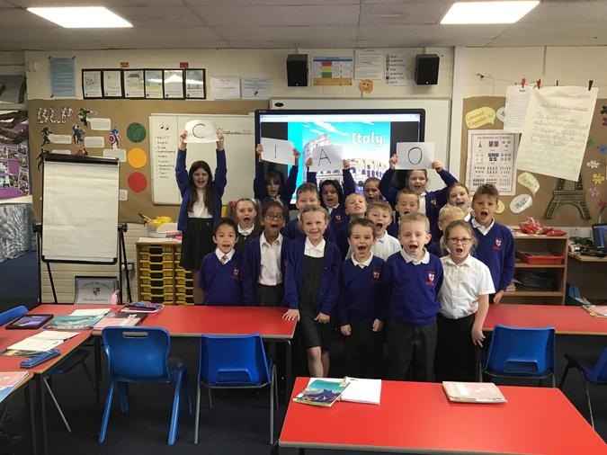 Year 3 learned some Italian words. One was 'ciao' which means both 'hello' and 'goodbye'