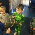 The children explored the unusual creatures.