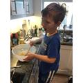 O doing some baking.