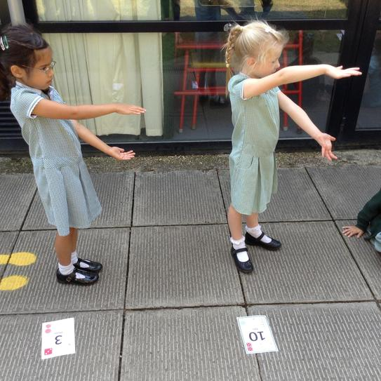 We looked at the numbers on our number cards and showed which one was greater than.