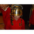We got to try on a helmet