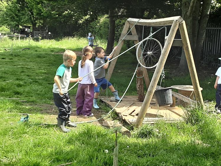 The children using our pulley system