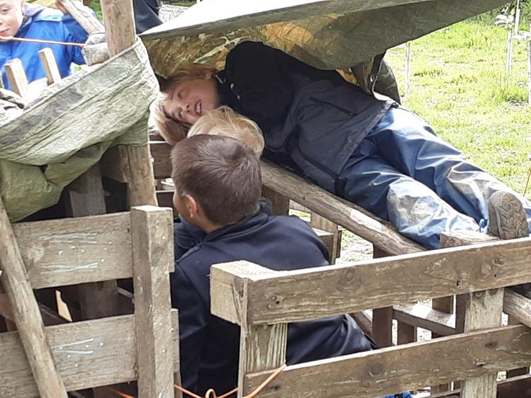 This group made a bed in their den
