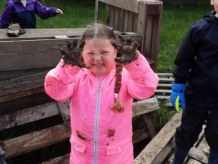 Mud painting with our hands