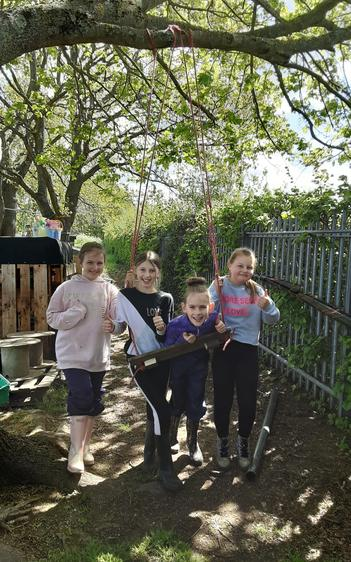 This group worked so hard, they used all the tools and made their own swing.