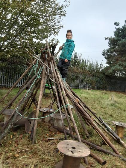 Feel proud she has made this teepee