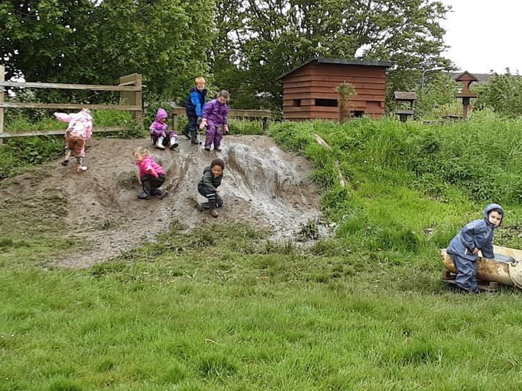 Mud slide fun