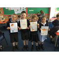 Children in Class 1/2 created posters to explain how we can help keep the planet clean.