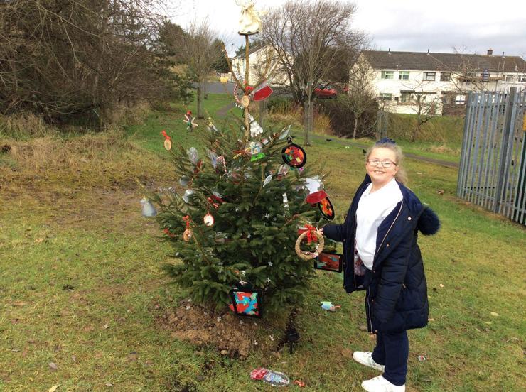 Decorating the community wishing tree