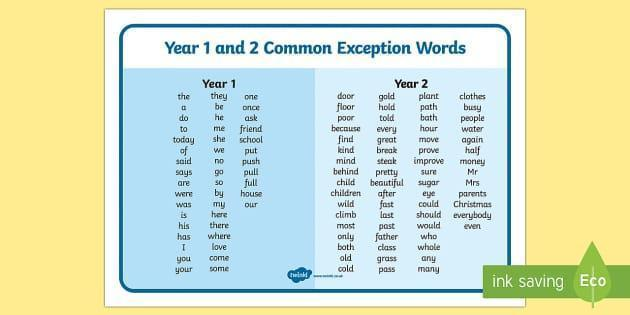 Year 1 and 2 Common exception words