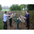We have gym equipment to use in the playground