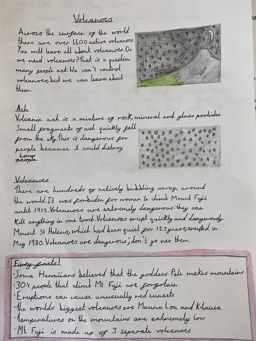 We have written non-chronological reports about volcanoes