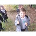 Logan found the perfect sized stick!