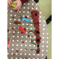 We made poppies out of play dough to remember the people who were in the war.