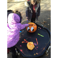 We explored the inside of a pumpkin.