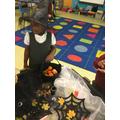 Exploring the halloween tray.