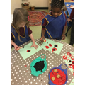 We used red and black to make a field of poppies...