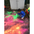 We had lots of fun flicking the powder paint!