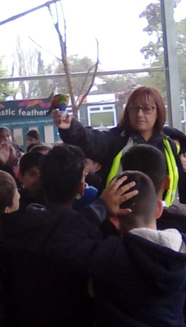 A parakeet flew down and fed from Mrs Lowe's pot.