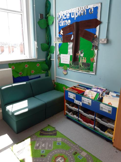 Here is our reading corner. We have lots of great books to enjoy!