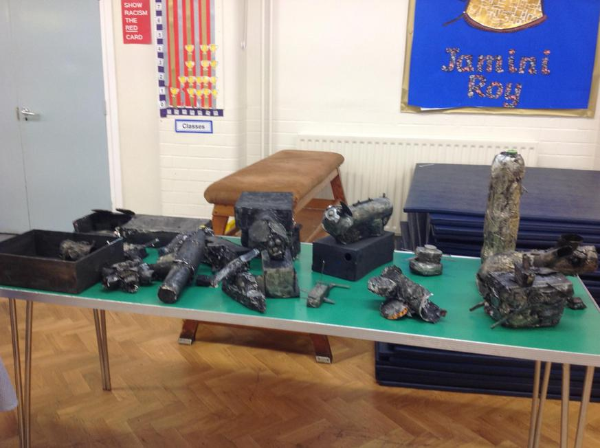 Year 3 made steam punk robots recycling toys