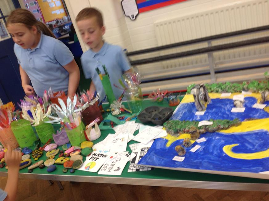Year 5 made a garden of flowers with bottles