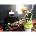 Jordan welding his pipework!