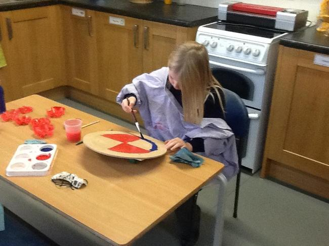 Painting our Anglo-Saxon shields.