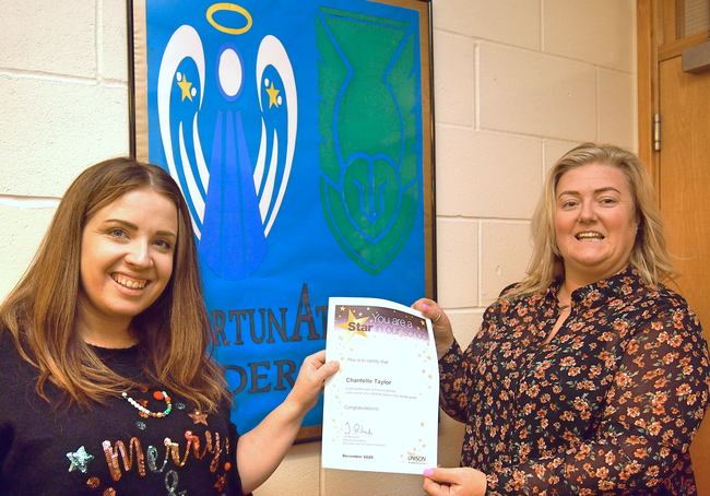 Chantelle Taylor Winner Of A Stars In Our Schools  Being Presented With Her Certificate