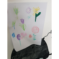 Nathan drew flowers for Mr Stone's challenge.