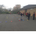 Football during outdoor PE