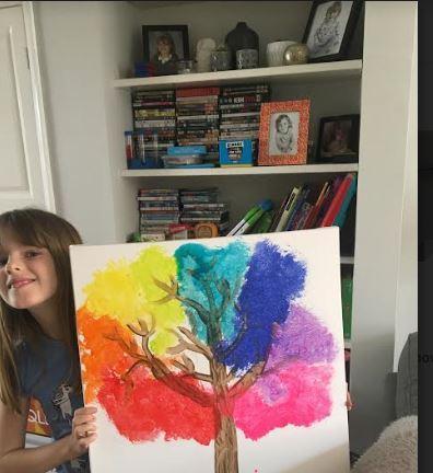 Martha 4TR rainbow blossom tree on canvas