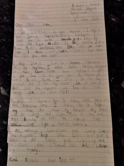 Hope's Home Learning Champion letter!