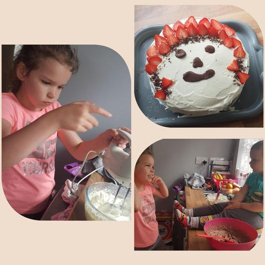 Nicole and her brother baked a yummy cake!