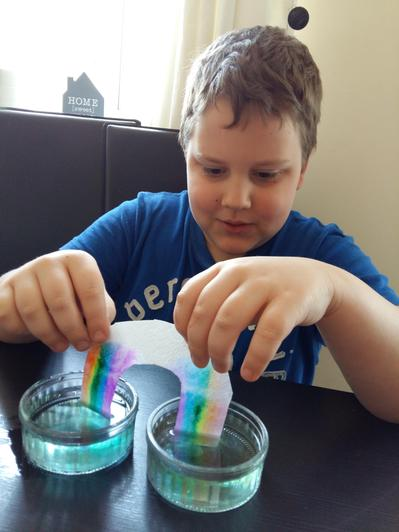 Oskar creating a rainbow!