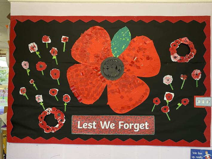 Lest we forget- Reception made a large poppy display