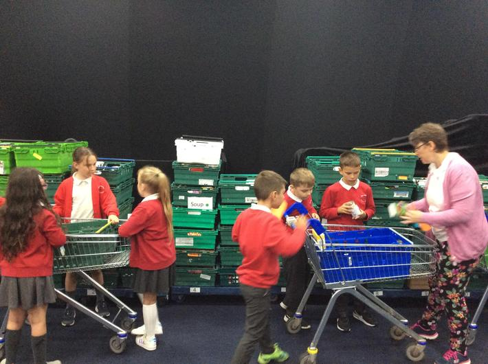 Making up food parcels ready for those in need.