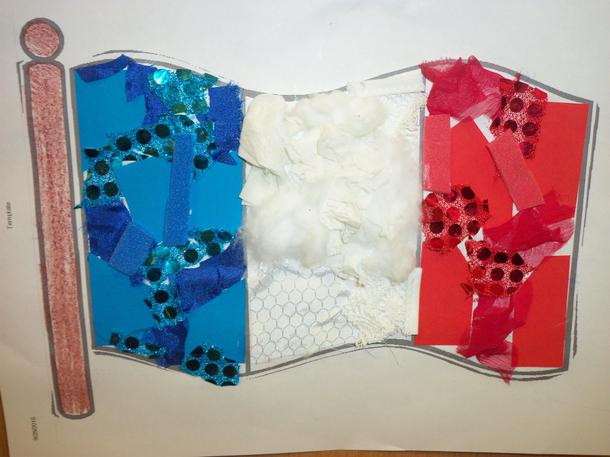 Using collage materials to create flags